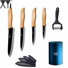 "Asa de bambú Negro Hoja Cuchillos de Cocina XYJ Marca 3 ""4"" 5 ""6"" Cuchillos de cerámica Set Portacuchillas Pelador Multifuncional 6 Unids Conjunto"