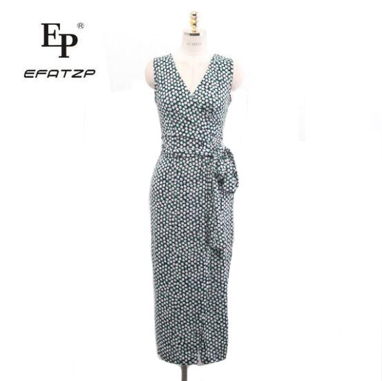 EFATZP 2018 Summer Women Polka Dots Print Long Wrap Dress Ladies Maxi Beach Sundresses Strand Jurkjes