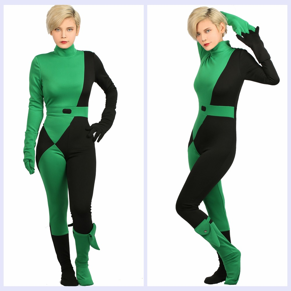 Online Shop XCOSER Kim Possible Shego Jumpsuit Costume COSplay ...