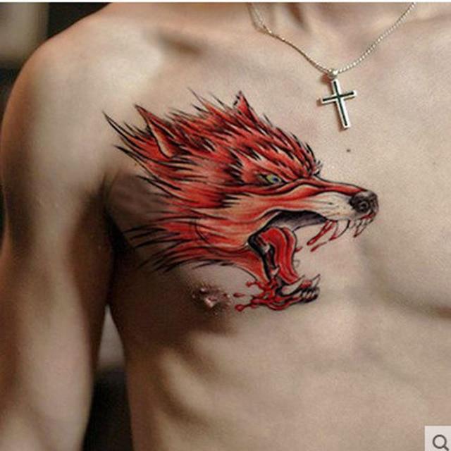 Une Hommes Tattoo Sanguinaire Loup Etanche Tatouages Temporaires