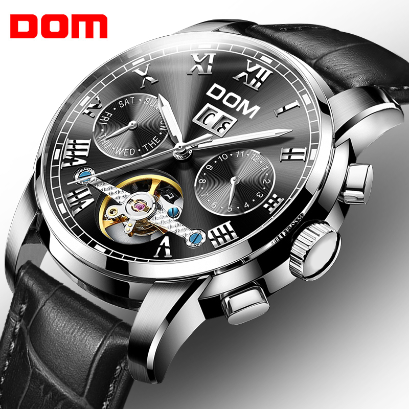 DOM Skeleton Tourbillon Mechanical Watch Automatic Men Classic Black Leather Waterproof Wrist Watches Reloj Hombre M