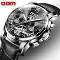 DOM Скелет турбийон механические часы Мужские автоматические классические черные кожаные механические наручные часы Reloj Hombre M-75L-1M