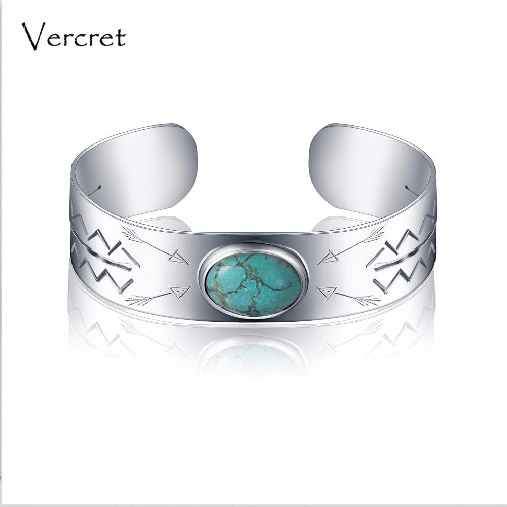 Vercret rocznika turkus bransoletka handmade 925 sterling silver cuff bransoletka fine jewelry dla kobiet walentynki prezent