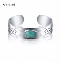 Vercret vintage turquoise bangle handmade 925 sterling silver cuff bracelet fine jewelry for women Valentine's gift