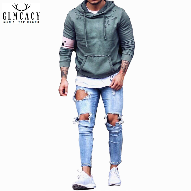 Mens Blue Distressed Skinny Elastic Hole Jeans Streetwear Fashion Ripped Straight Pencil Pants