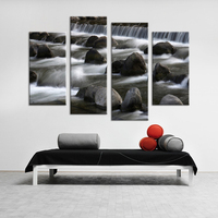 4 Piece Waterfall Scape Living Rooms Set Wall Painting Print On Canvas For Home Decor Ideas