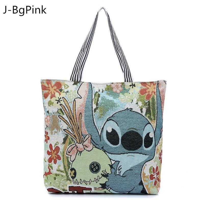 cartoon bag tote 3d bags shopping handbag stitch beach canvas shoulder printing flowers handbags print shipping luggage hand aliexpress