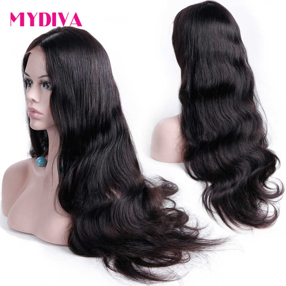 Mydiva Pre Plucked 360 Lace Frontal Wigs For Women Brazilian Body Wave Lace Front Human Hair Wigs With Baby Hair Black Remy