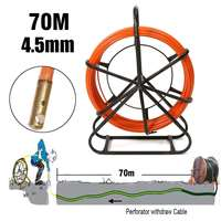 4.5mm 70M Fiberglass Wire Cable Running Rod Snakes Fish Rodder Puller Flexi Lead Electric Fiberglass Wire Cable Running Rod New