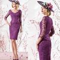 2015 elegante vestido púrpura esvestidos de madrina hasta la rodilla de encaje lf2739 madre de la novia viste con mangas de la chaqueta más el tamaño