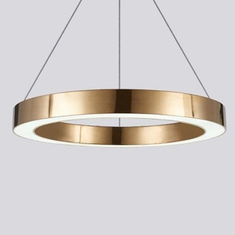 LukLoy Modern LED Pendant Light Luxury Circle Champagne Gold LED Pendant Lamps Hotel Living Room Hanging