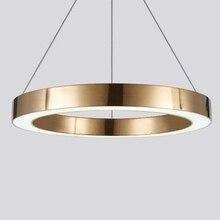 LukLoy מודרני LED תליון אור יוקרה מעגל שמפניה זהב LED תליון מנורות מלון סלון תליית תאורת חדר שינה משרד
