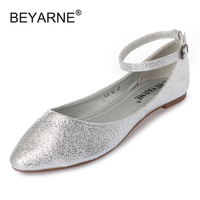 Sexy Pointed Toe Gold Silver Black Women Ballet Flats Fashion Ankle Strap Mary Jane Flats For