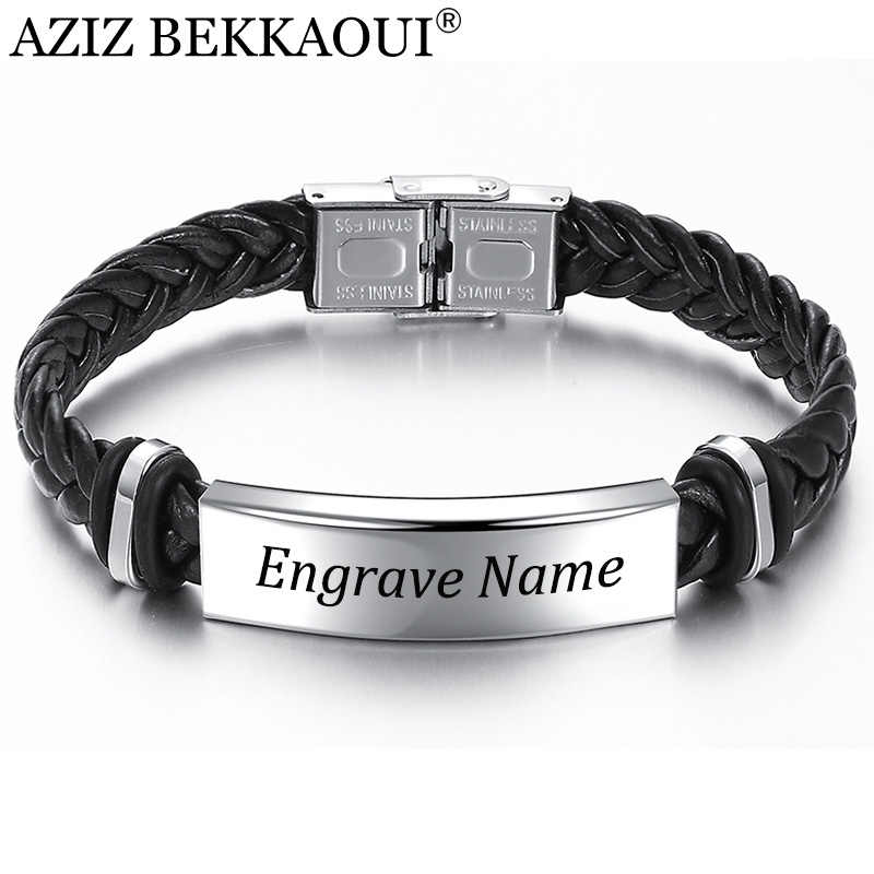 AZIZ BEKKAOUI Engrave Name Black Braid Woven Leather Bracelet Stainless Steel Bracelet Men Bangle Men Jewelry Vintage Gift