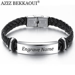 Bracelet Men Jewelry Gift Engrave-Name Stainless-Steel Black Vintage AZIZ BEKKAOUI Braid