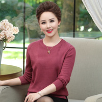 Middle Aged Women O neck Autumn Sweater 2019 Long Sleeve Knitted Sweaters And Pullovers Female Jumper Tricot Tops Plus Size 4XL