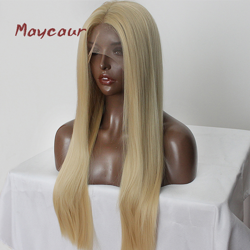 Image 2 - Maycaur Blonde Hair Lace Front Wigs Long Straight Color 613# Synthetic Lace Wigs-in Synthetic Lace Wigs from Hair Extensions & Wigs