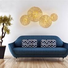 זהב יוקרה קיר מנורת רקע בית מקורה סלון חדר שינה יצירתי אופנה מודרנית תאורת זכוכית כדור אורות LED