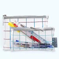 1pcs KOKUYO Plaid Impression Storage Bag Student Pencil Bag Document Examination Transparent Large Capacity