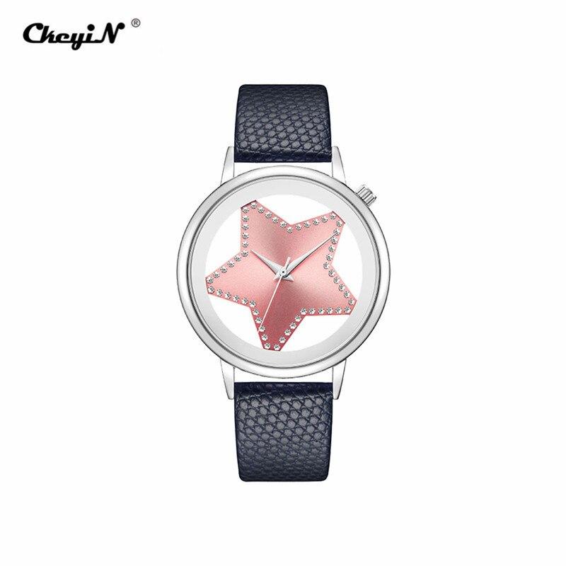 Luxury Brand Quartz Watch Women Creative Hollow Star Dial Ladies Watches Designer Rhinestone Dress Wrist watch Rose Gold Pink 30 3