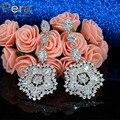 Luxury Famous Design Women Wedding Party Jewelry Accessories Full Big Flower Cubic Zircon Stone Paved Long Drop Earrings E213