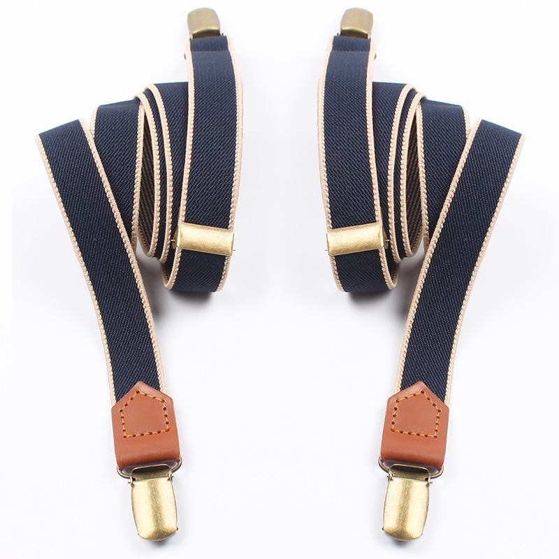 Elastic Clip-on Suspenders 4 Clips Strap Leather Elastic Belt Adjustable Suspender Trousers Accessories