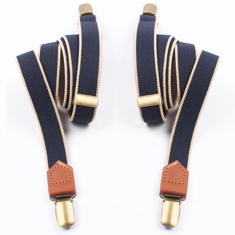 Mantieqingway Women Men Elastic Clip-on Suspenders 4 Clips Strap Leather Elastic Belt Adjustable Suspender Trousers Accessories