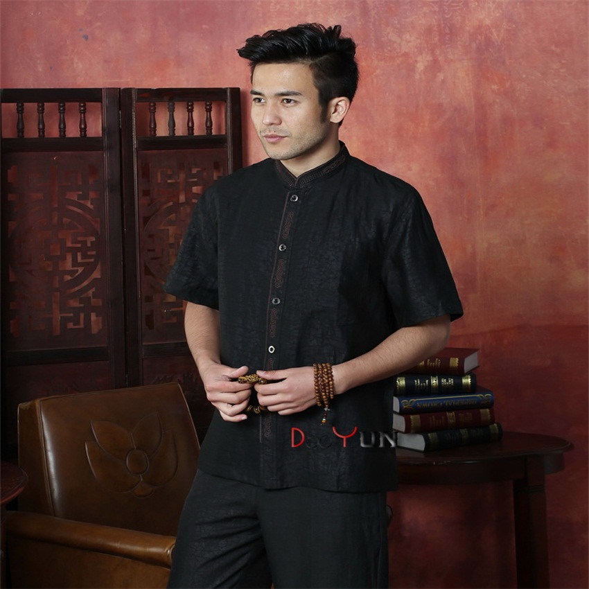 Summer NEW Black Chinese font b Men s b font Kung Fu Tops font b Shirt