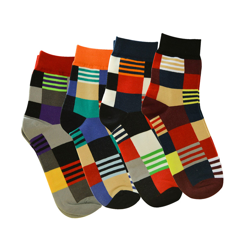 6 Pairs Men Short Socks Classic Colorful Plaid Jacquard Men Sock Anti-bacterial Deodorant Cotton Sock Meias Funny Size 39-44