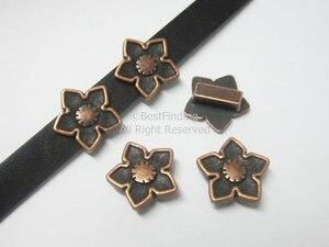 10x2 мм кожаная фурнитура с плоским отверстием 10 мм Античные медные кожаные слайдеры с цветком-FF81C