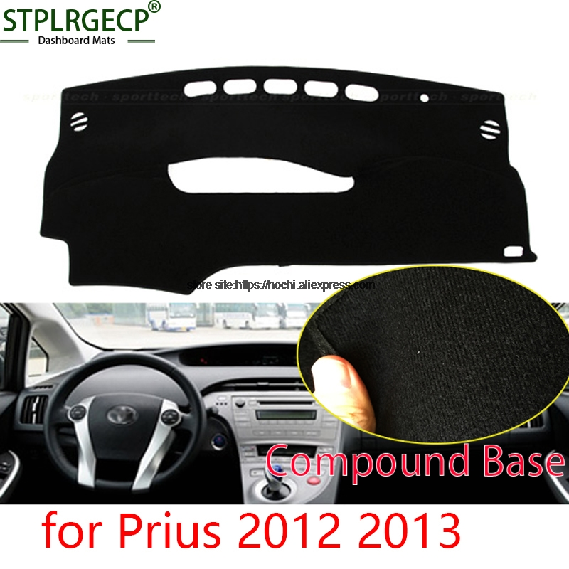 STPLRGECP double layer Black Dash Mat For toyota Prius 2012 2013 Dashmat Black Carpet Car Dashboard Automotive interior Mats