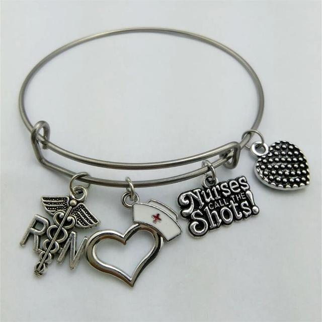 Stainless Steel Expandable Wire Registered Nurse RN Charm Bracelets