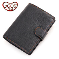 Casual cross section first layer leather multi card bit man wallet leather open short wallet