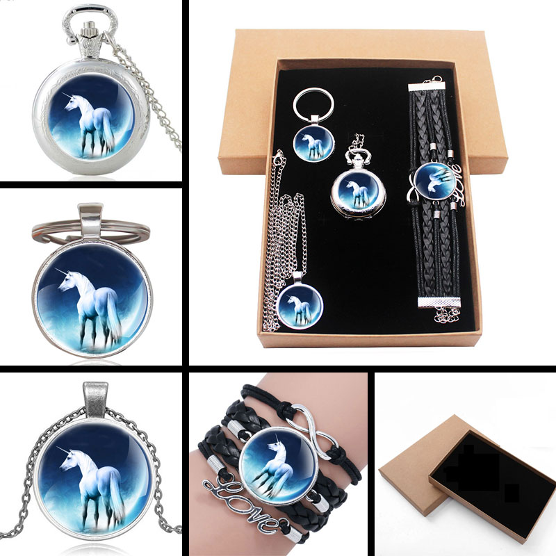 New Fashion Charm White Unicorn Jewelry Gift Set Have Pocket Watch And Pendant Necklace And Key Chain Bracelet With Gift Box
