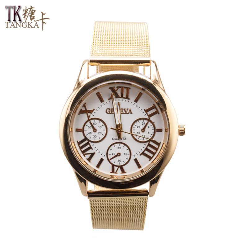 The New Fashion Leisure Luxury Women 's Men' S Stainless Steel Strap Quartz Simulation Watches