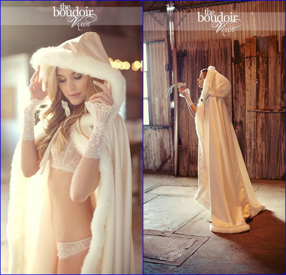 livraison rapide 2015 capuchon cap nuptiale blanc ivoire fourrure manteau de mariage bolero femmes hiver - Bolero Fourrure Mariage