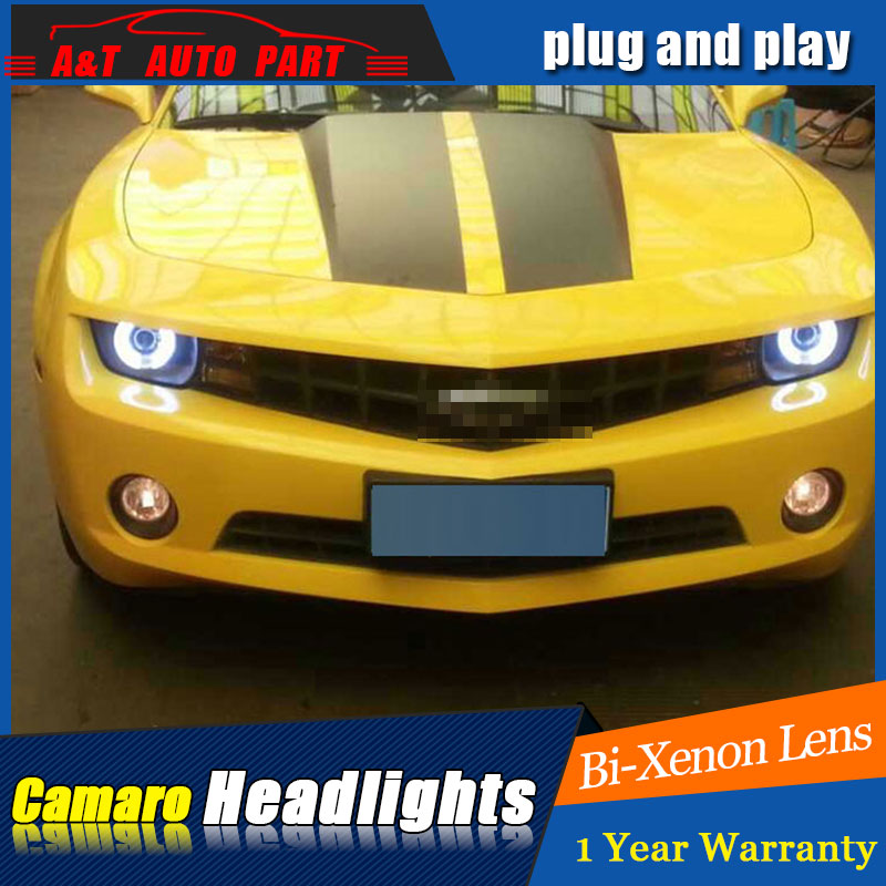 Auto part Style LED Head Lamp for Chevrolet Camaro led headlights for Camaro drl H7 hid Bi-Xenon Lens angel eye low beam for volkswagen polo mk5 vento cross polo led head lamp headlights 2010 2014 year r8 style sn