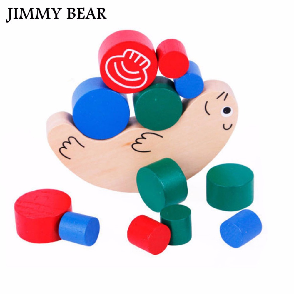 JIMMY BEAR 1x Building Blocks Toy Snails Colorful Wooden Toy Balance Exercise Kid Game