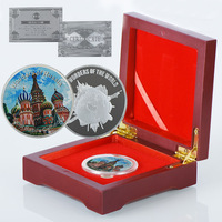 WR Saint Basil's Cathedral 24k 999.9 Silver Coin Unique Gifts Collectible Wonders of World Metal Coin with High Quality Box