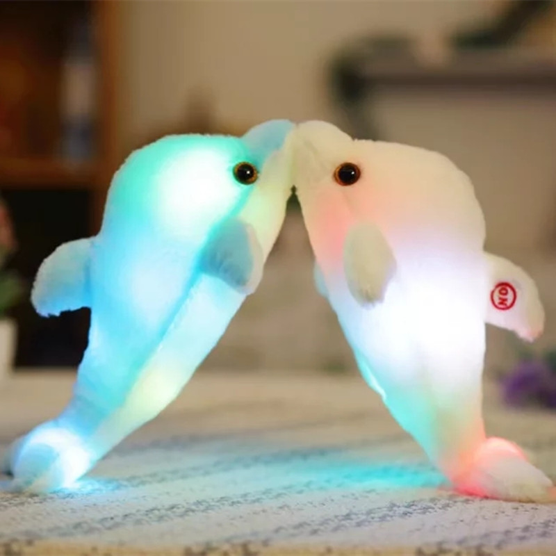 32cm Colorful Glowing Dolphin Plush Toy Kawaii Luminous Plush Dolls Stuffed Doll with Led Light Cute Gift for Kids Girls 1pc 16cm mini kawaii animal plush toy cute rabbit owl raccoon panda chicken dolls with foam partical kids gift wedding dolls
