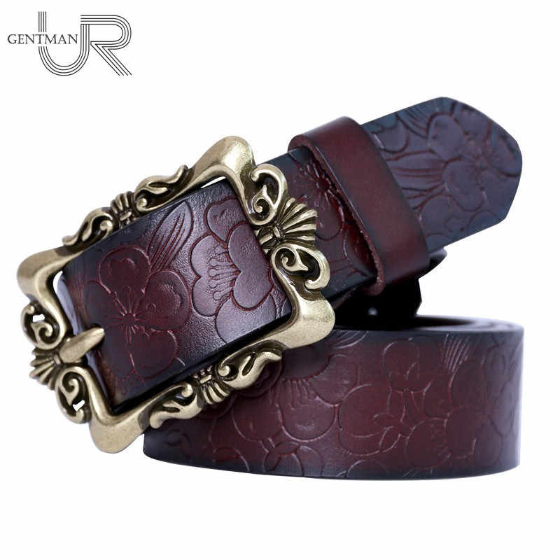 12710fcfac4 Fashion Wide Women Genuine Leather Belt Vintage Floral Luxury Belts For  Women Top Quality Casual Jeans