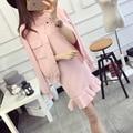 Rosa jaqueta de malha + colete vestido de terno 2016 nova primavera cardigan de malha das mulheres longa seção fishtail vestido ternos two-piece knit jaqueta