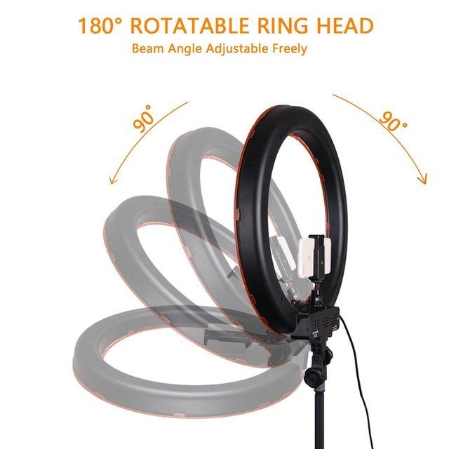 capsaver RL-18 LED Ring Light 18 inch Makeup Lamp with Tripod Mirror High CRI LED 5500K Camera Photo Youtuber Studio Video Lamp
