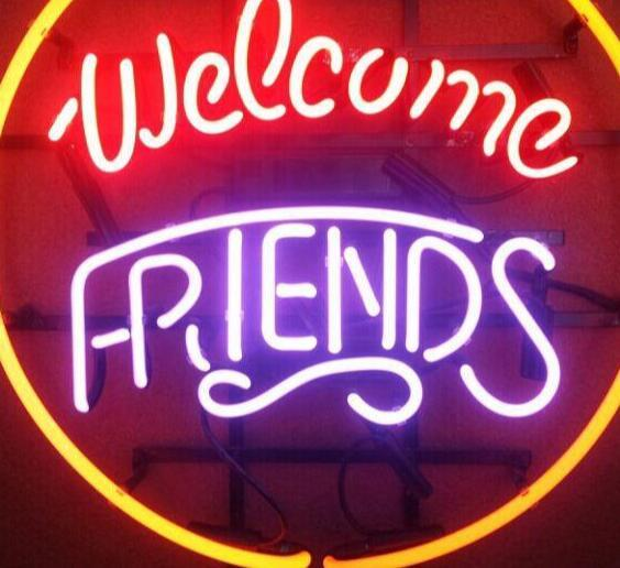 Custom Welcome Friends Open Glass Neon Light Sign Beer Bar 1