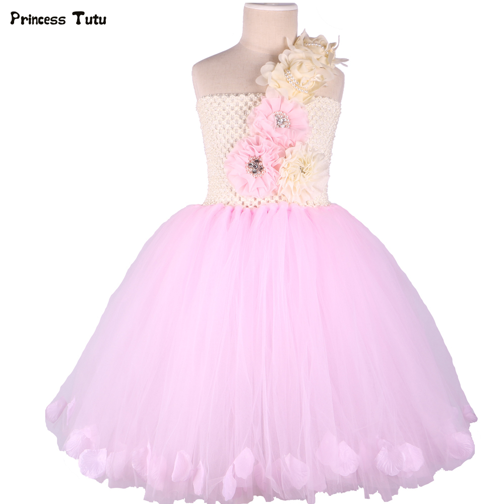 Pink Princess Flower Girl Dresses Wedding Ball Gowns Rose Petals Girl Tutu Dress Children Kids Flower Fairy Birthday Party Dress casio часы casio mtp 1379l 7b коллекция analog