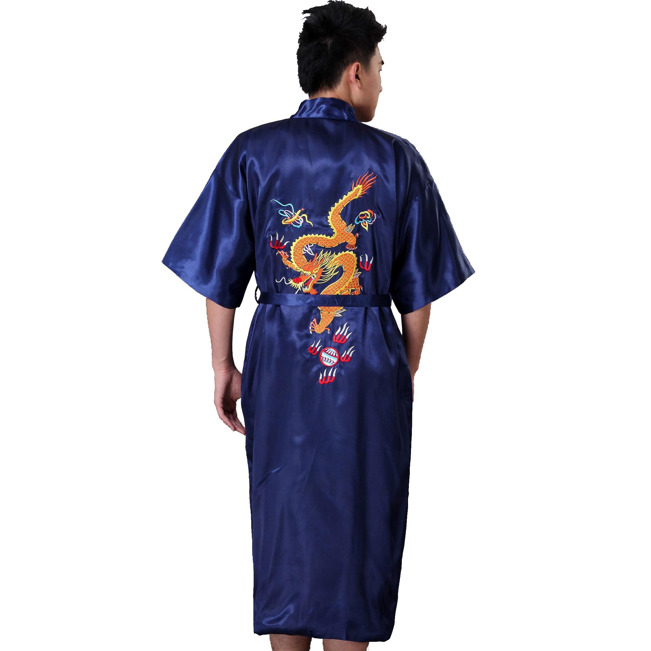 Black Traditional Chinese Menb Silk Satin Robe Embroider Kimono Gown Dragon Bathrobe Sleepwear Size S M L XL XXL XXXL