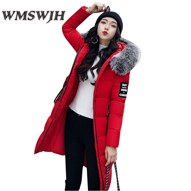 WMSWJH Fashion Women's Jacket Winter New Large Fur Collar Mid Long Section Slim Hooded Thicken Down Feather Cotton Coat WS135 winter feather cotton women outwear long section thick section slim hooded coats large fur collar large size down jacket lx165