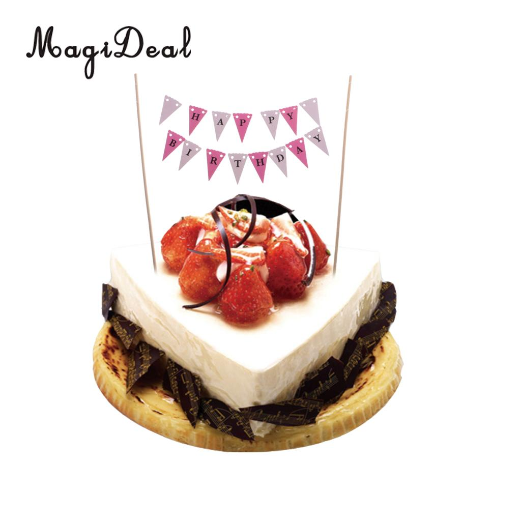 Magideal Happy Birthday Letters Cake Banner Home Party Pennant
