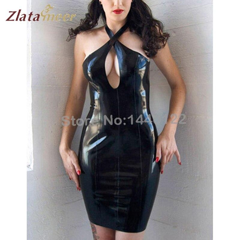 Latex femmes robe en caoutchouc noir Latex Sexy fétichisme robes vêtements grande taille XXXL sur mesure B-LD049