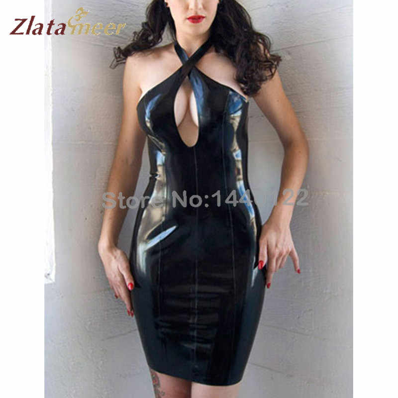 Detail Feedback Questions about Latex Women Dress Black Rubber Latex ...